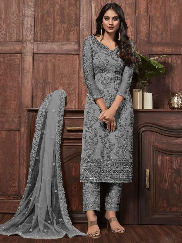 Grey Colour Embroidery Salwar Kameez.