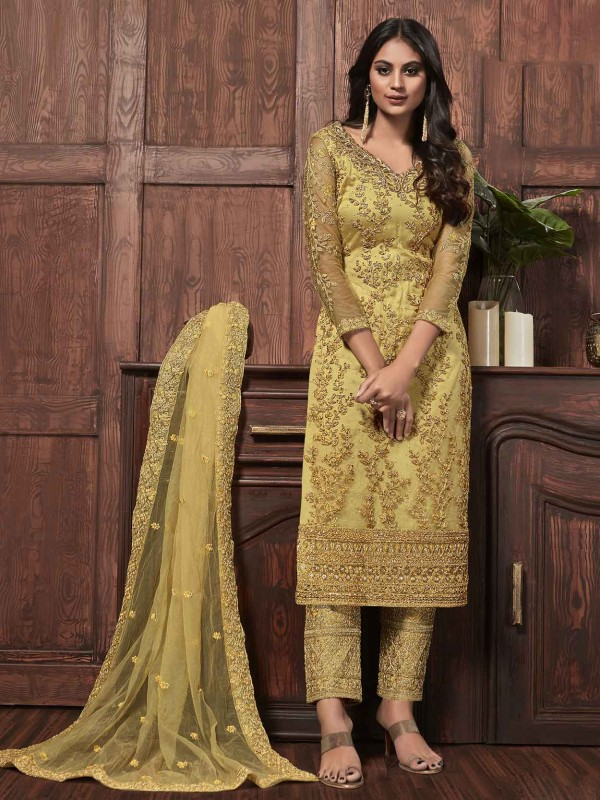 Net Designer Salwar Suit Yellow Colour.