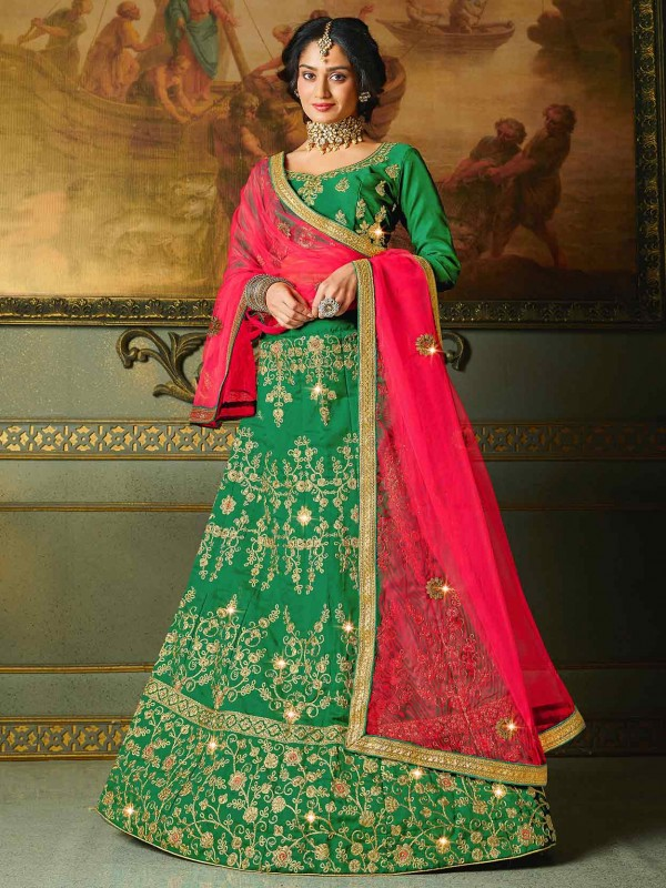 Green Colour in Silk Fabric Lehenga Choli With Zari,Embroidery Work.