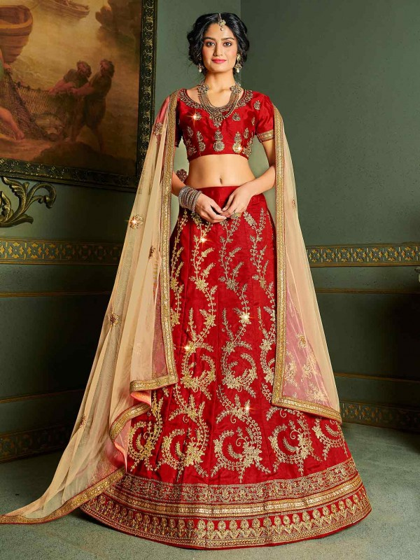 Red Colour Silk Wedding Lehenga Choli.