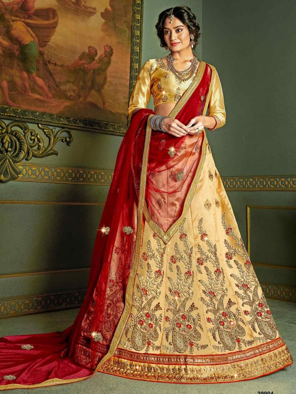 Beige Colour in Silk Fabric Women Lehenga Choli.