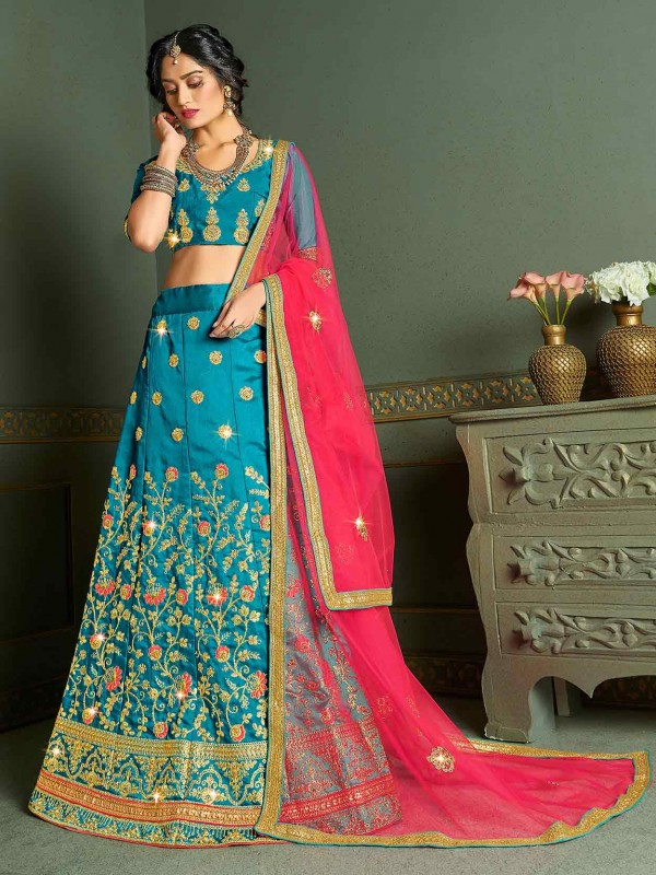 Sky Blue Colour Silk Lehenga Choli.