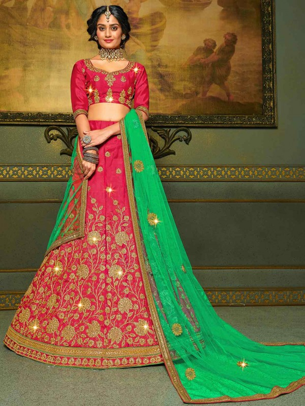 Pink Colour Zari,Embroidery Lehenga Choli.