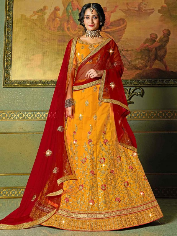 Yellow Colour in Silk Fabric Zari,Embroidery Lehenga Choli.