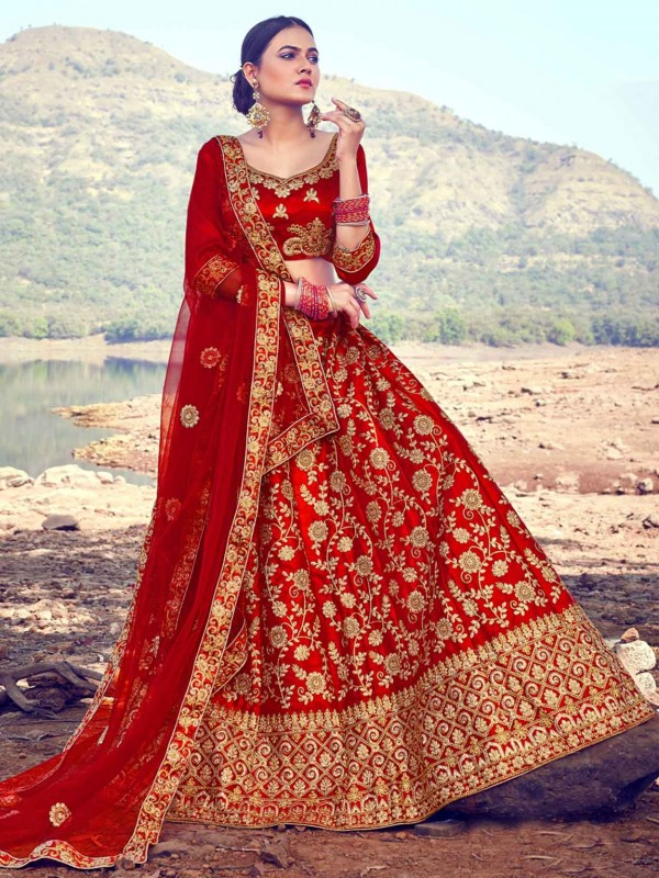 Red Colour Satin,Silk Designer Lehenga Choli.
