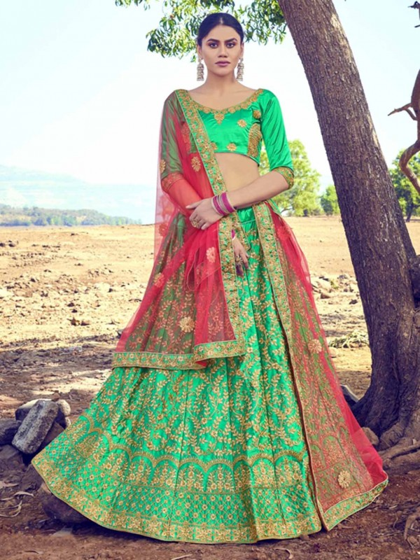Women Lehenga Choli Green Colour in Satin,Silk Fabric.