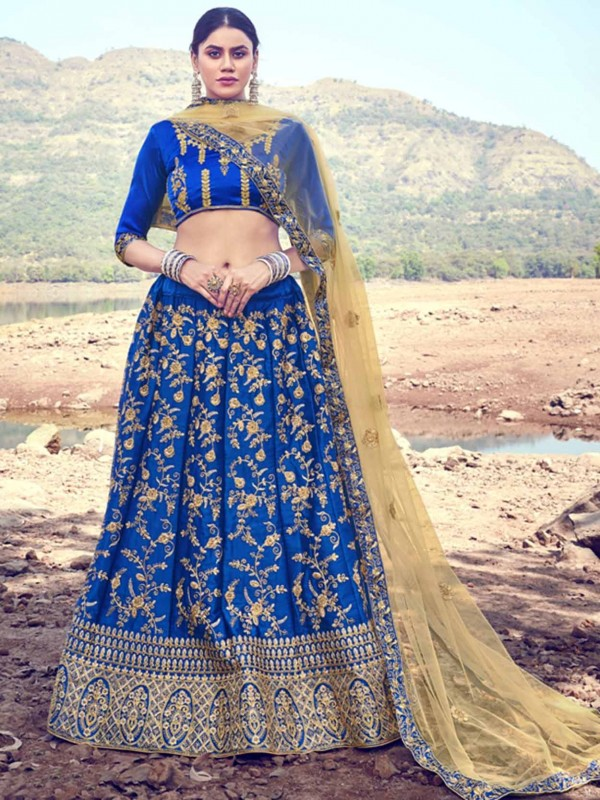 Blue Colour in Satin Silk Fabric Lehenga with Zari,Embroidery Work.