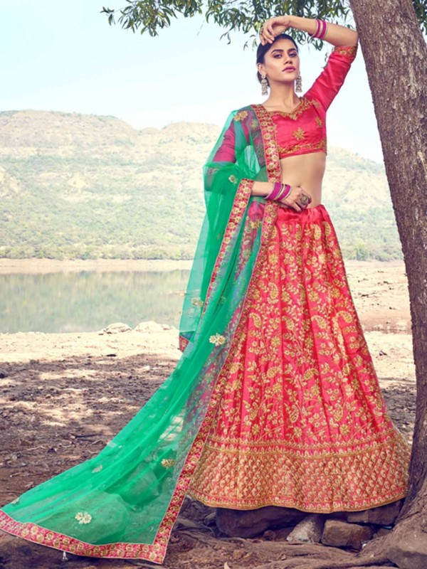 Satin,Silk Lehenga Choli in Pink Colour.