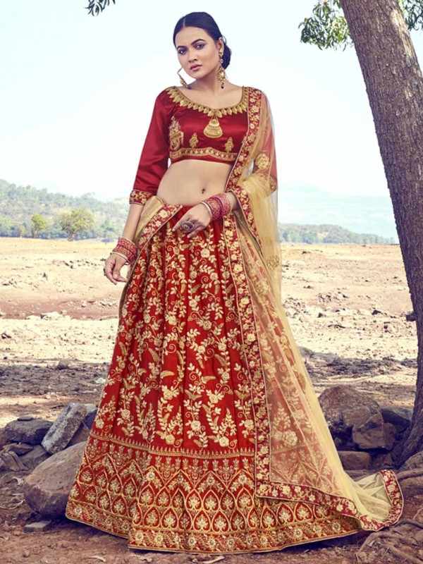 Maroon Colour Satin,Silk Lehenga Choli.