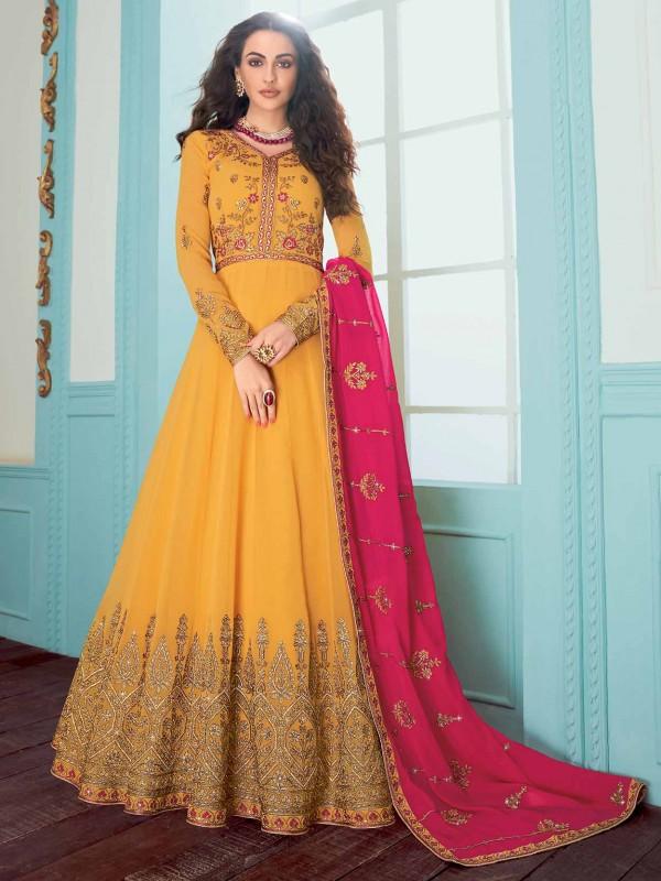 Yellow Colour Georgette Designer Salwar Suit.