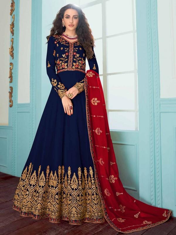 Blue Colour in Georgette Party Wear Salwar Suit.