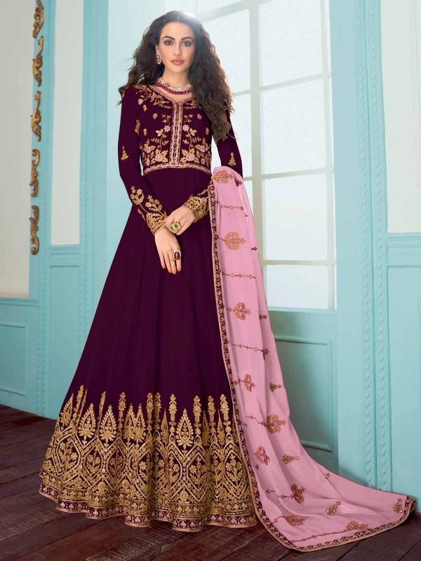 Purple Colour Embroidery Salwar Kameez.