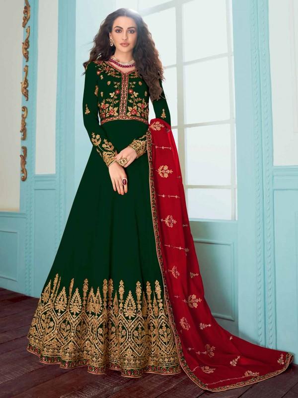Anarkali Salwar Suit Green Colour Georgette Fabric.