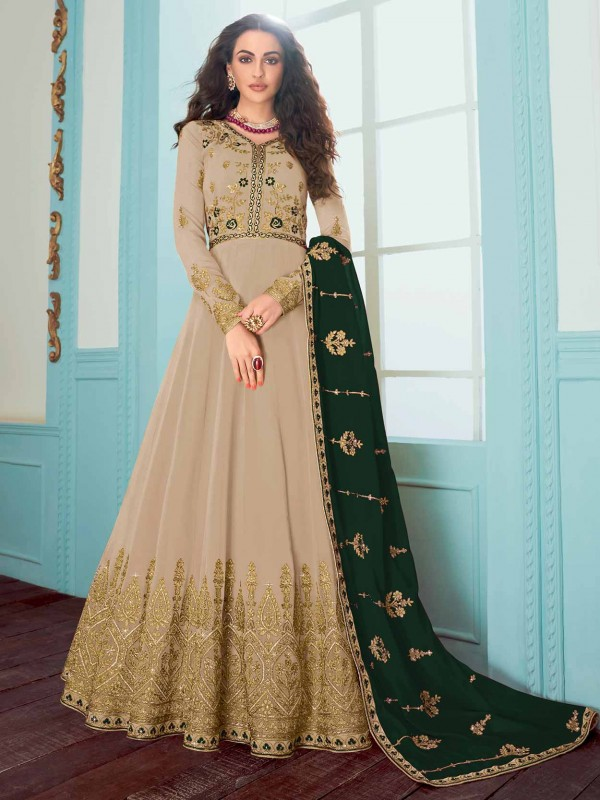 Beige Colour Salwar Kameez With Embroidery Work.