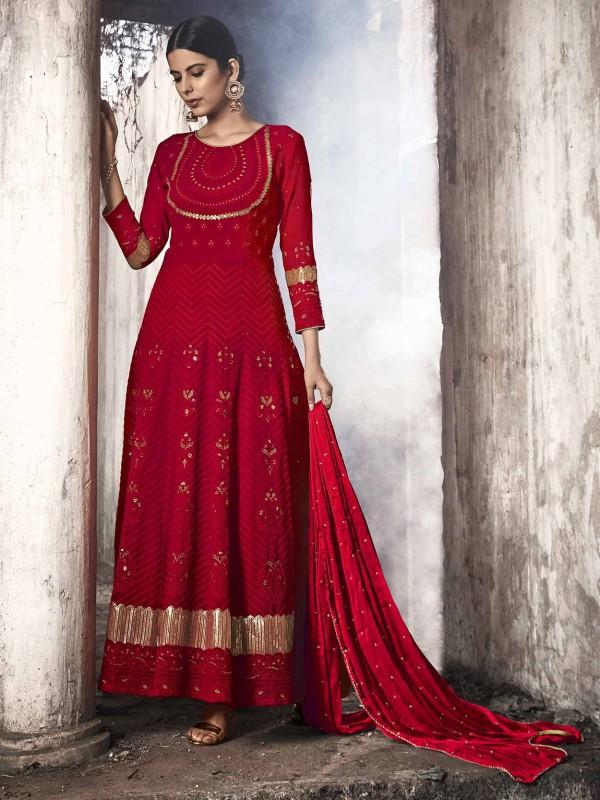Red Colour Designer Anarkali Salwar Suit.