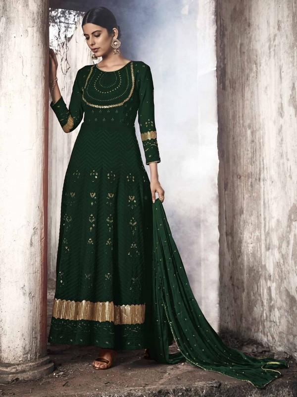 Dark Green Colour Georgette Salwar Suit.