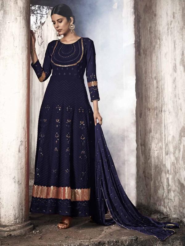 Georgette Salwar Suit Blue Colour.