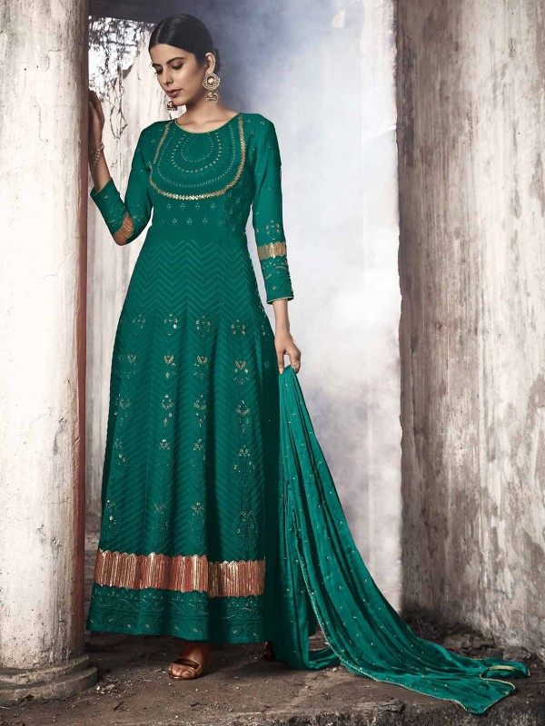 Green Colour in Georgette Salwar Suit.