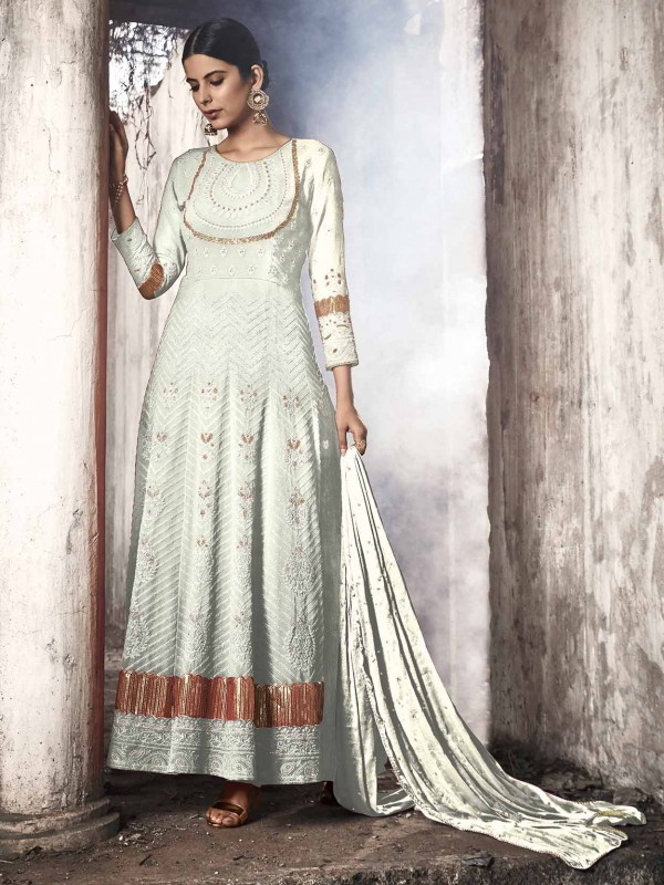 White Colour Georgette Salwar Kameez.