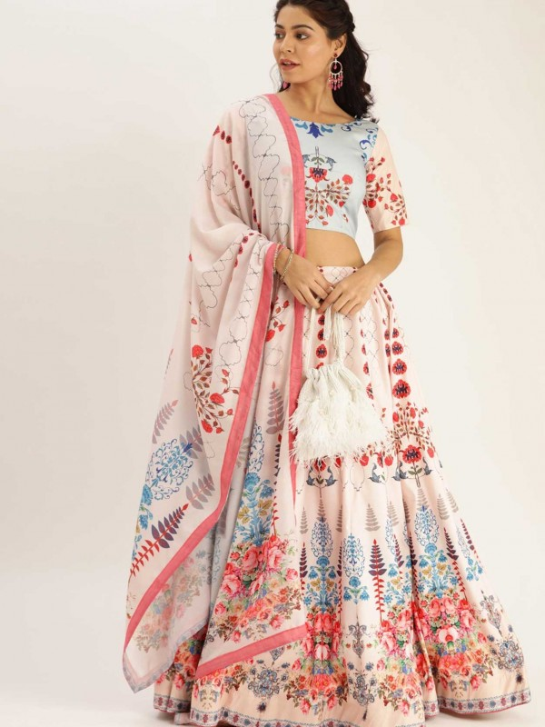 Off White Colour Printed Lehenga Choli.