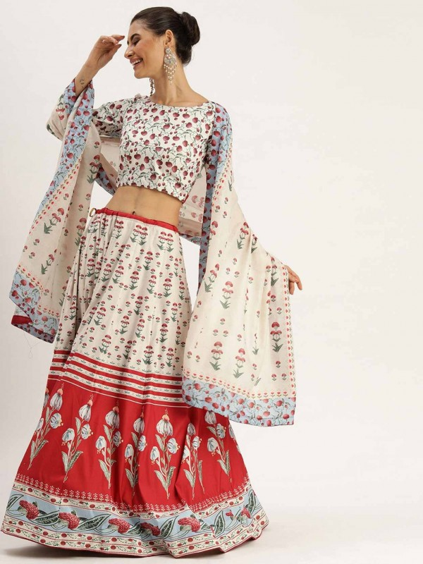 Cream,Red Colour Silk Printed Lehenga.