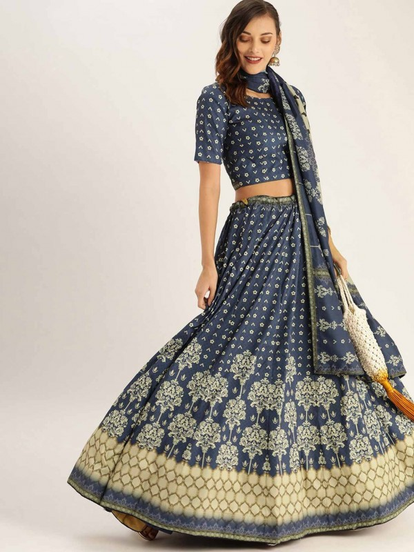 Printed Lehenga Choli Blue Colour.