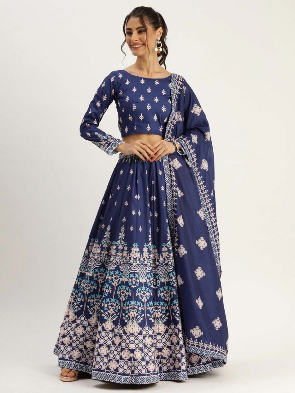 Blue Colour Printed Lehenga Choli.