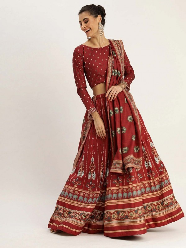 Maroon Colour In Silk Printed Lehenga.