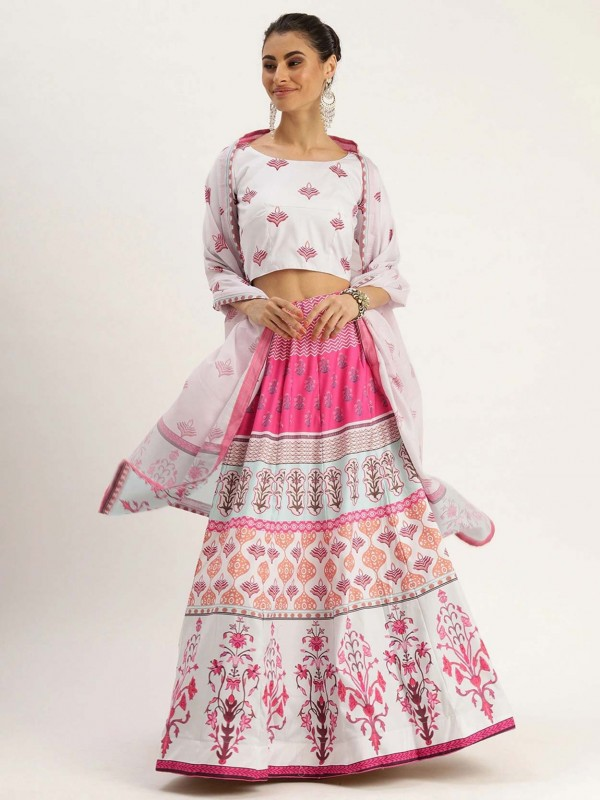 Off White,Pink Silk Lehenga Choli.
