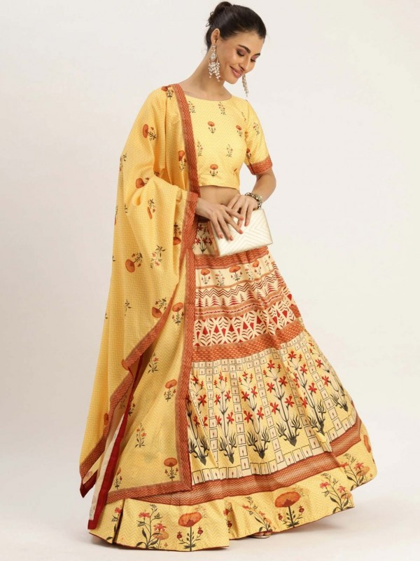 Printed Lehenga Choli in Yellow Colour.