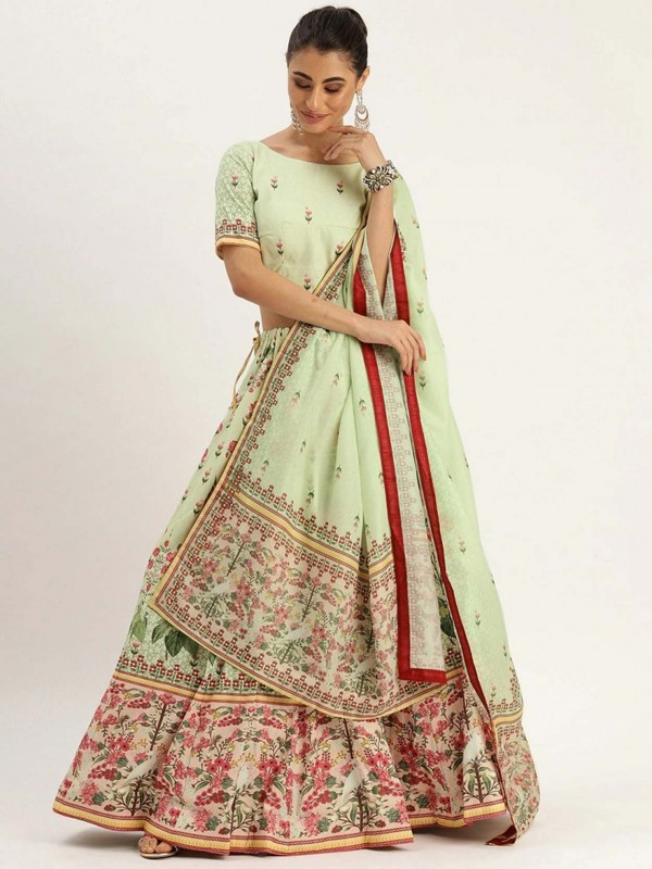 Green Colour Silk Lehenga Choli.