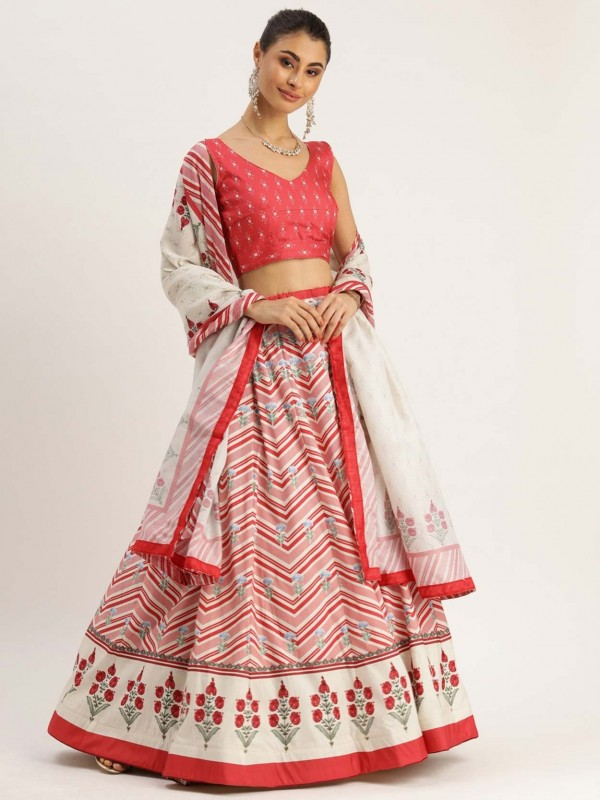 Pink Colour Printed Lehenga Choli.