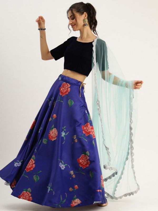 Blue Colour Satin,Silk Printed Lehenga.