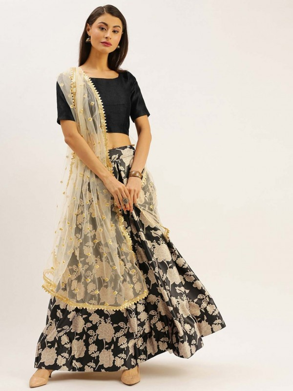 Black Colour Printed Lehenga.