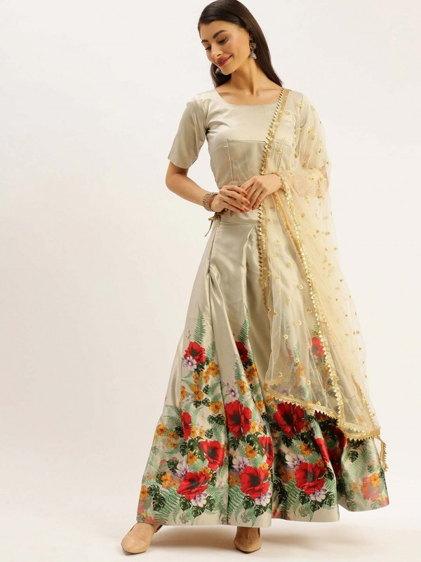 Beige Colour Satin,Silk Lehenga Choli.