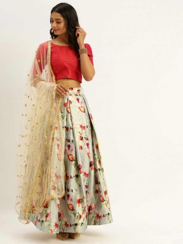 Cream Colour Printed Lehenga.