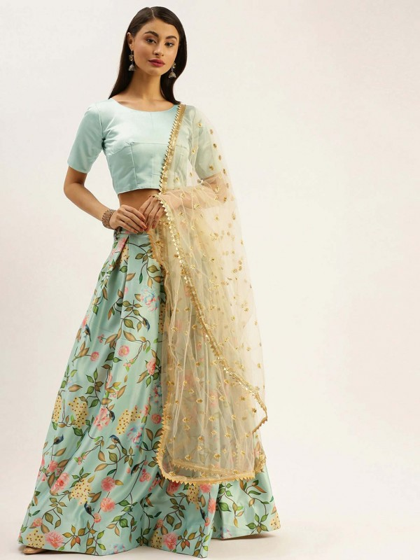 Satin,Silk Printed Lehenga Choli in Green Colour.