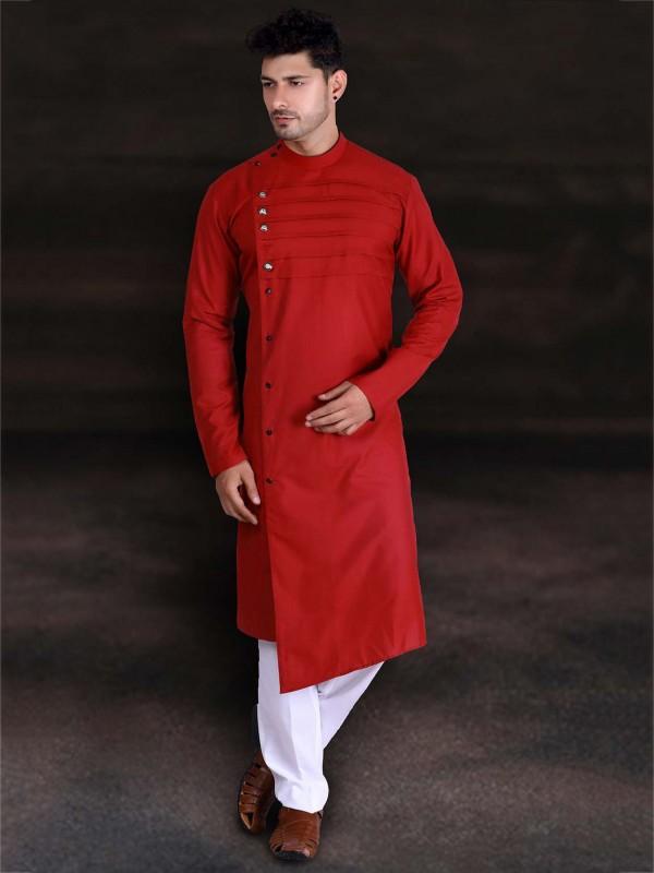 Red Colour Cotton Designer Kurta Pajama.