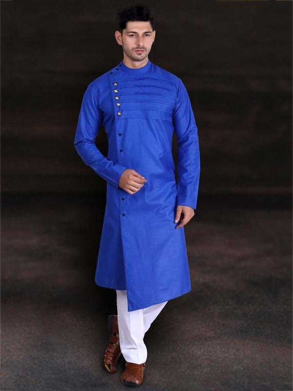 Cotton Readymade Kurta Pajama Blue Colour.