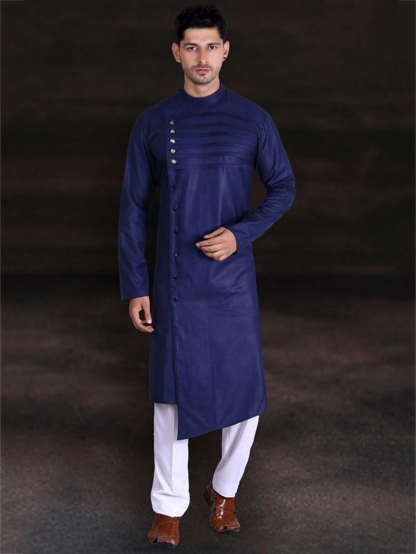 Navy Blue Colour Cotton Kurta Pajama.