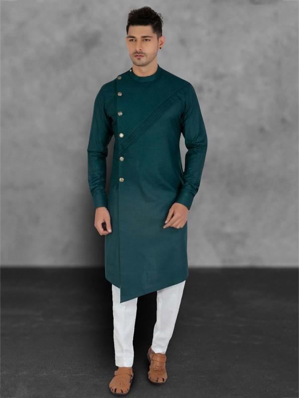 Green Colour Cotton Designer Kurta Pajama.