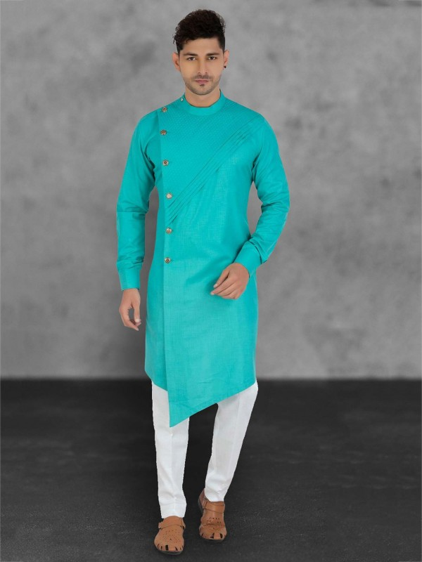 Sea Green Colour Cotton Men's Kurta Pajama.