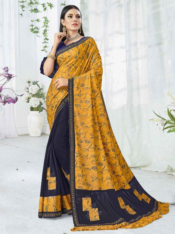 Yellow,Blue Colour Lycra Traditional Saree.