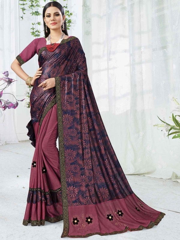 Pink Colour Printed Party Wear Sari.