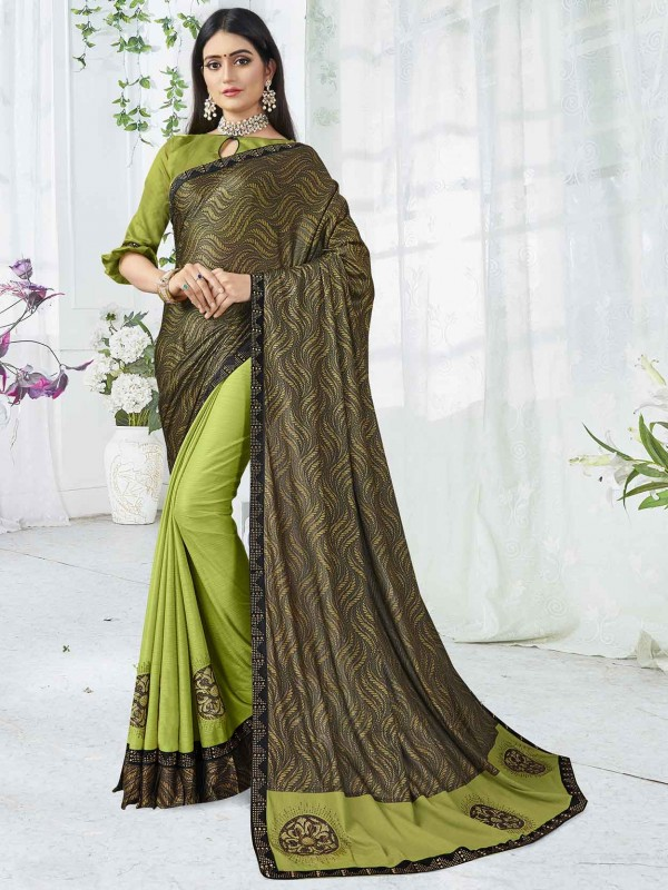 Green Colour Lycra Fabric Printed Saree.