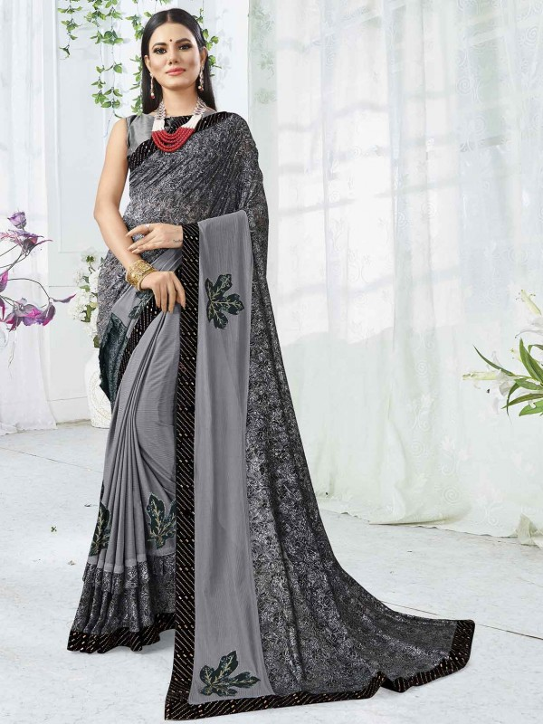 Grey Colour in Lycra Printed Saree.