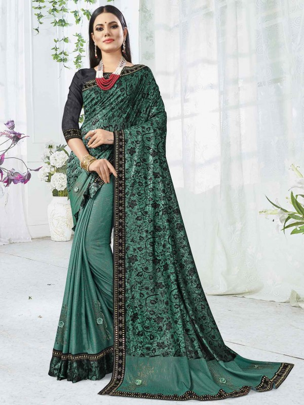 Rama Green Colour Printed Saree.