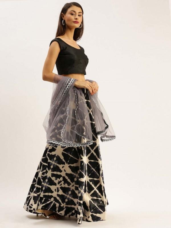 Black Colour Satin,Silk Printed Lehenga.