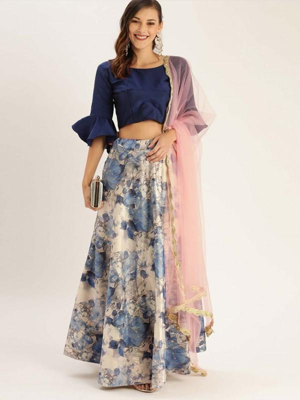 Satin Silk Printed Lehenga in Blue,Cream Colour.