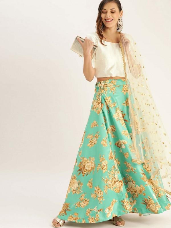 Turquoise Colour Satin,Silk Printed Lehenga.